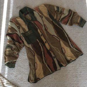 Women's mixed yarns, collared, cardigan Coogi